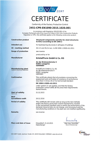Certificat EN 1090